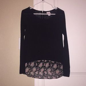 Black sweater with floral bottom